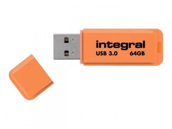 Clé USB 64GO néon orange, jaune ou bleue