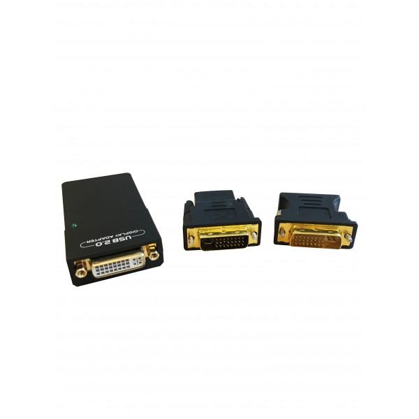 Adaptateur 3 en 1 : HDMI, DVI-I ou VGA sur port USB 2.0